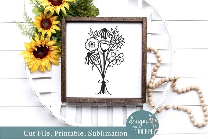 Wildflower Bouquet Design - SVG, Sublimation, Printable