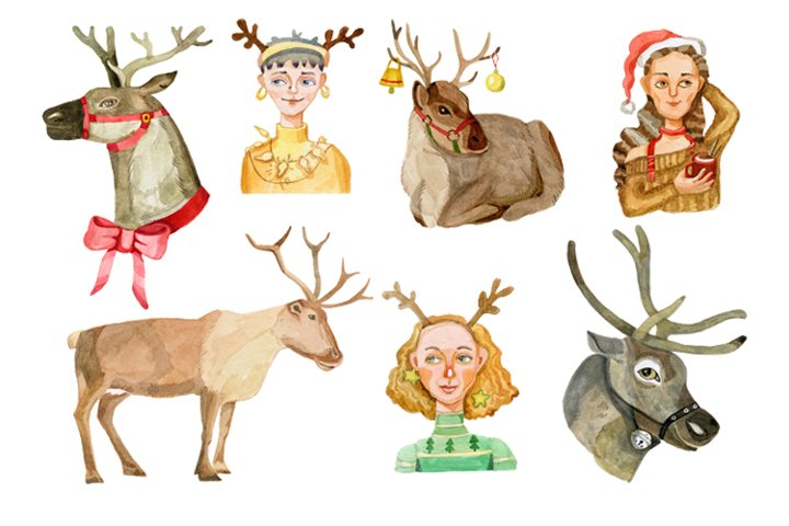 A set of Christmas watercolor illustrations example 1