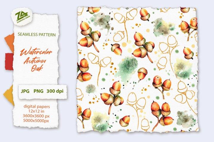 Seamless Watercolor Pattern Autumn Oak acorns PNG