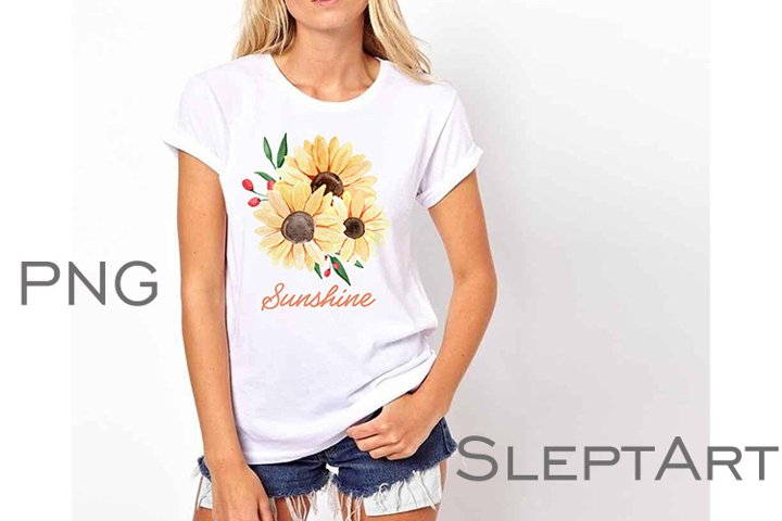 Watercolor sunflower sublimation PNG, Watercolor flowers PNG