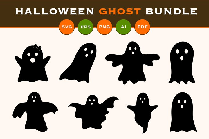 Halloween ghost svg bundle with SVG, EPS, PNG, PDF, AI