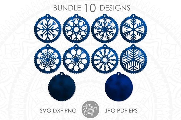 Earrings SVG, Snowflake earrings SVG, cutting files SVG