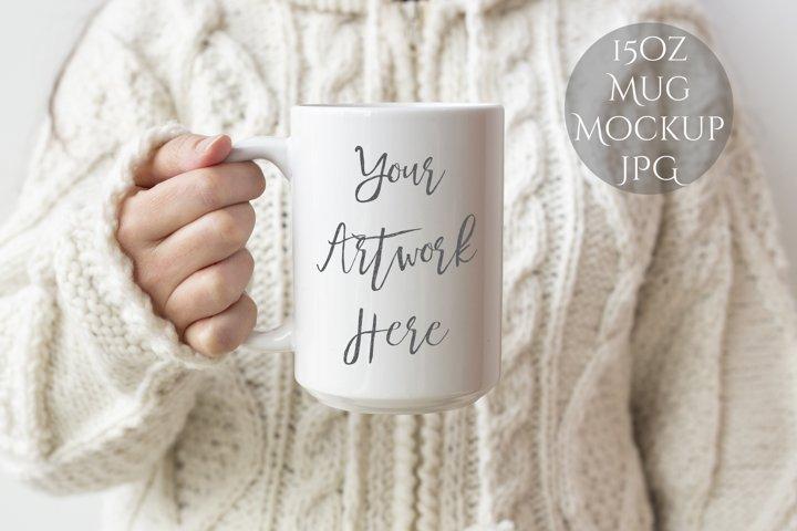 15oz Mug Mockup -woman holding mug