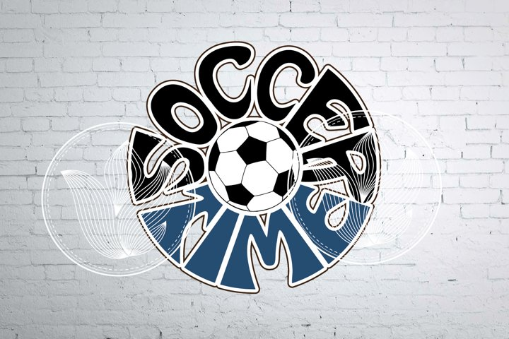 Digital Soccer time Word Art with Soccer ball, png, eps, svg