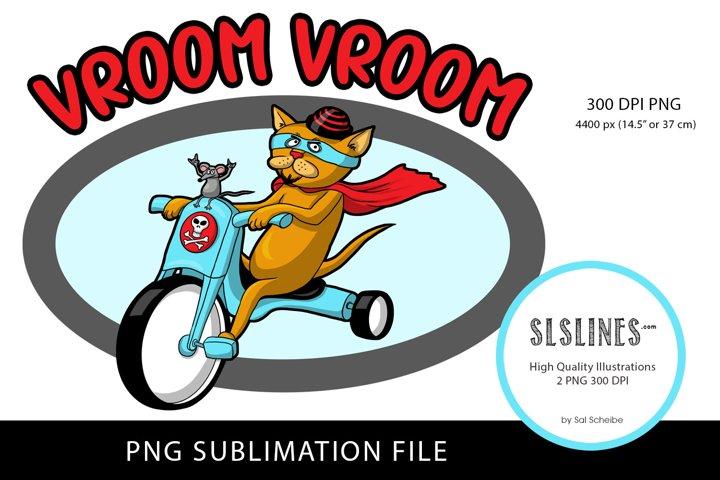 Cat & Mouse Bike Design PNG sublimation