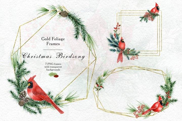 Gold Foliage Christmas Cardinal frame, Watercolor Winter PNG