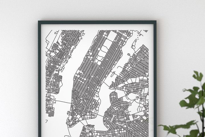 New York USA City Map --DIGITAL DOWNLOAD--- black and white 5 different sizes easy to print, high quality 300dpi---Maps Ahoy! worldwide maps