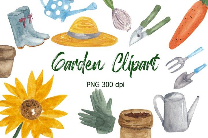 Garden watercolor clipart. Garden illustration