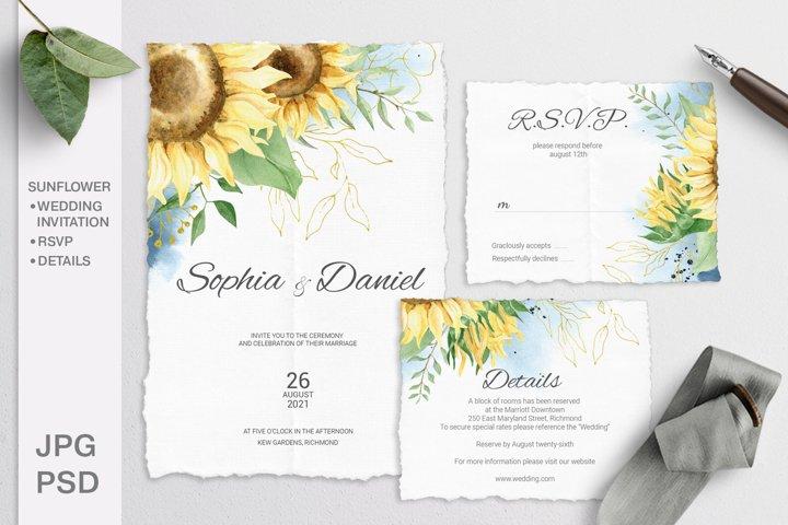 Sunflower Wedding Invitation Suite. Editable template