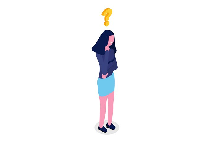 Woman is thinking isometric character. Vector illustration.