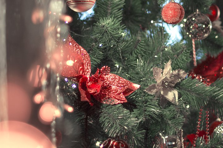 Defocused New Year Greeting Card Concept, christmas.