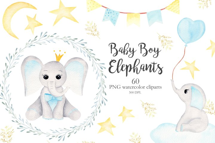Watercolor Baby Boy Elephants Collection