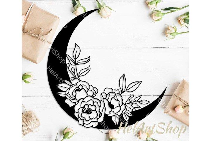 Floral Moon svg