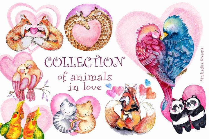Couples of animals in love clipart Watercolor Valentines