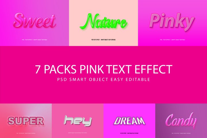 7 Packs Sweet Pink PSD Text Effect Smart