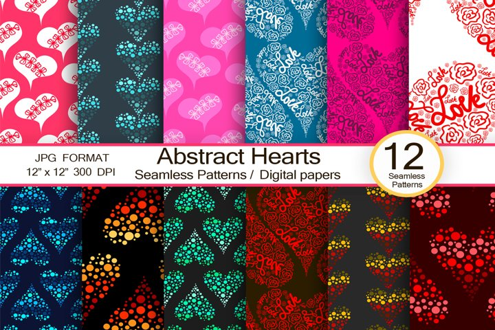 Abstract Hearts, scrapbook paper, trendy digital patterns