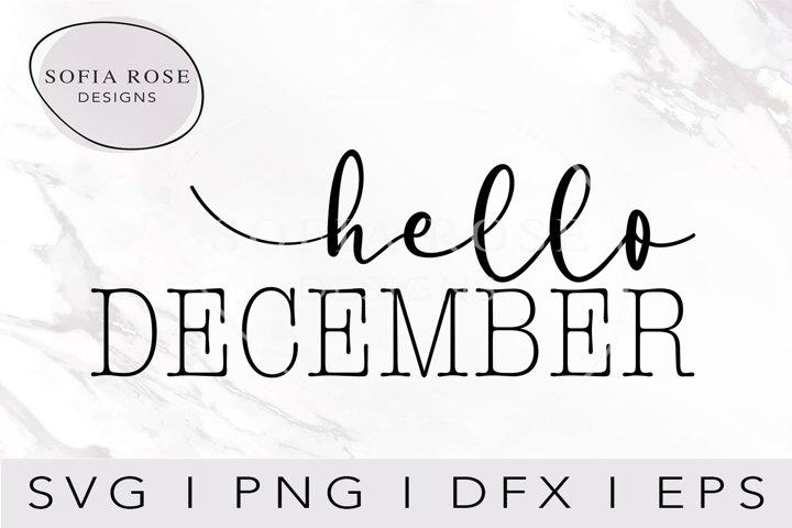hello DECEMBER-December SVG-Hello SVG-Winter SVG-Clip Art