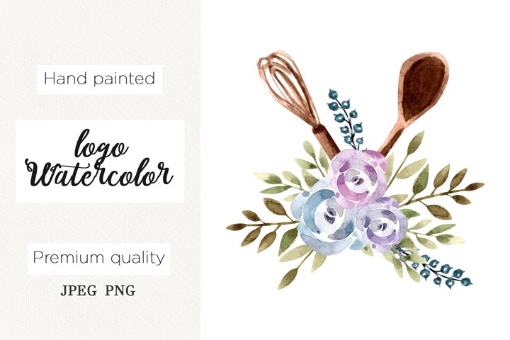 Watercolor logo floral whisk for bakery, cooking clipart