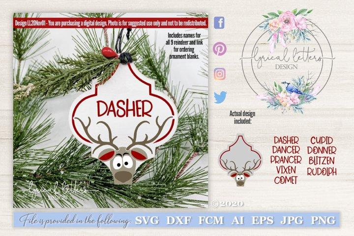 Reindeer Names Christmas Ornament SVG Cut File LL20Nov01