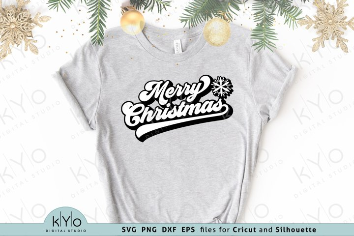 Merry Christmas With Snowflake Svg Dxf Png Eps Files