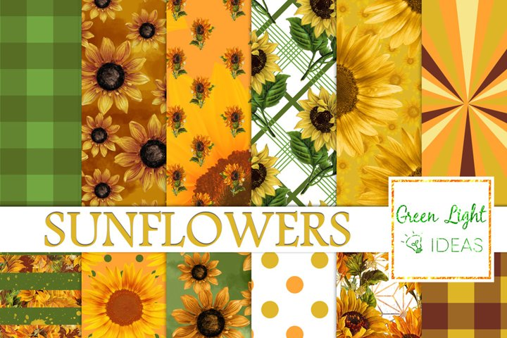 Sunflower Digital Papers, Vintage Sunflowers Scrapbook Papers