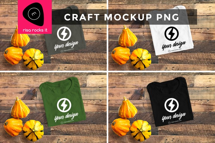 Folded Tee with Fall Gourds Craft PNG Mockup