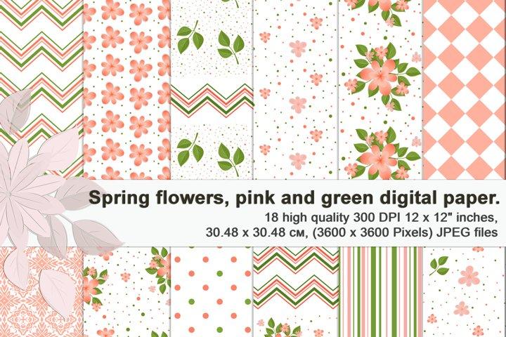 Tender spring floral patterns, Printable digital paper.