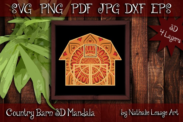 3D Mandala Country Barn 4 Layers SVG Cut File Farmhouse