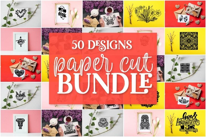 Paper Cut SVG bundle - 50 Hand Drawn Designs!