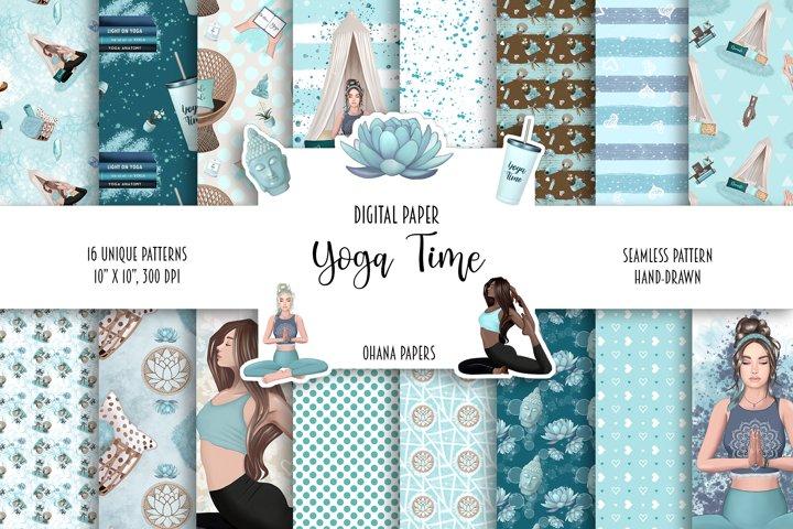 YOGA Digital Paper Pack - Pattern Fashion Illustration