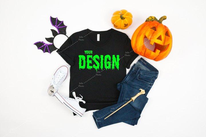 Bella Canvas 3001 Black T-shirt Mockup for Halloween
