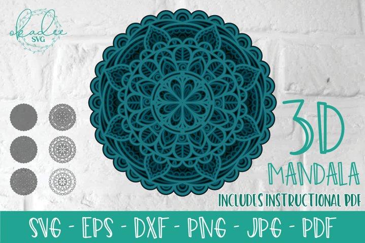 3D Mandala, Layered Mandala SVG, Mandala Cut File, DXF, EPS