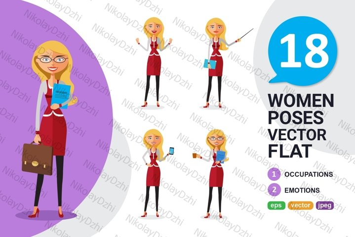 Blonde Woman business Character set