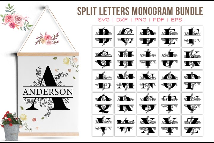 Monogram Bundle, Split Letters Monogram, A to Z Letter Logos