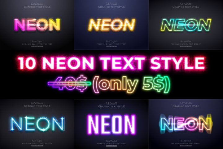 10 Premium Neon Illustrator Text Style