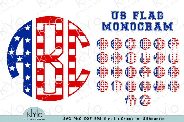 American Flag Monogram Letters Svg Png Dxf Eps Files