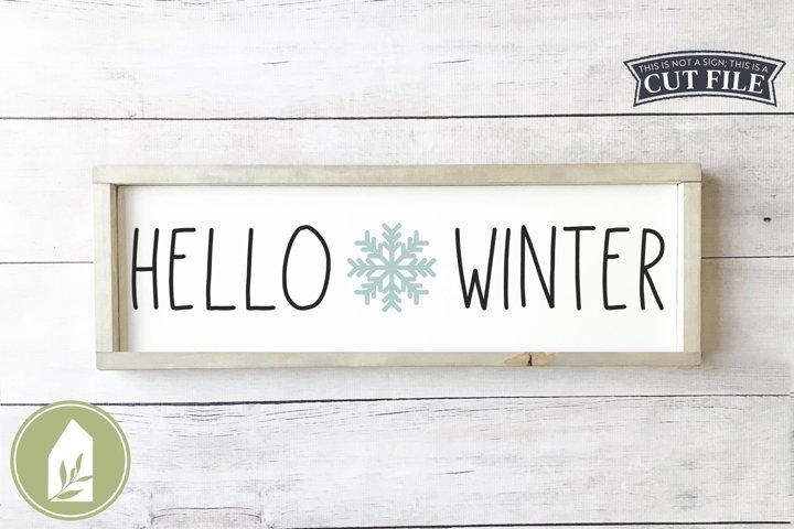 Hello Winter SVG Files, Snowflake Wood Sign SVG