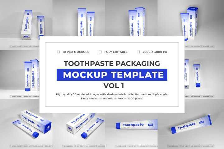 Toothpaste Packaging Mockup Template Bundle Vol 1