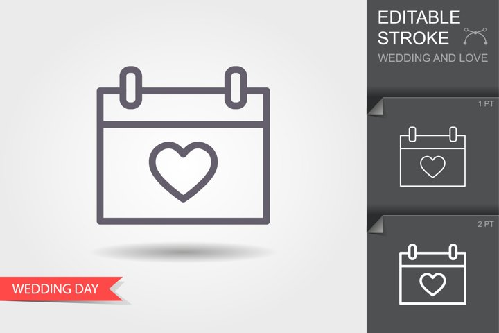 Calendar with heart icon. Line icon with editable stroke