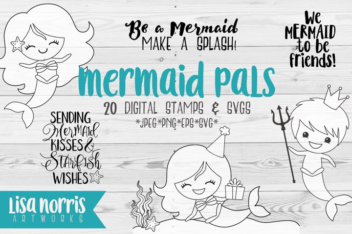 Mermaid Pals Digital Stamps and SVG Cutting Files