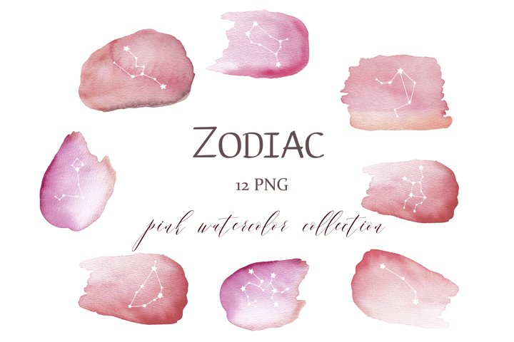 Zodiac Constellations pink watercolor clipart, Zodiac sign