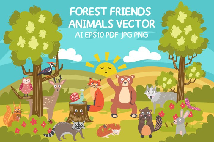 Forest Friends Animals Vector