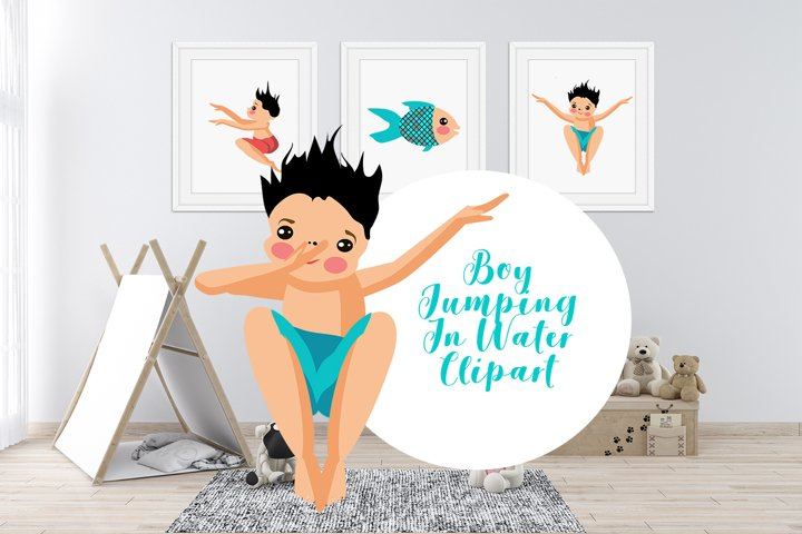 Boy Jumping In Water Clipart Bundle