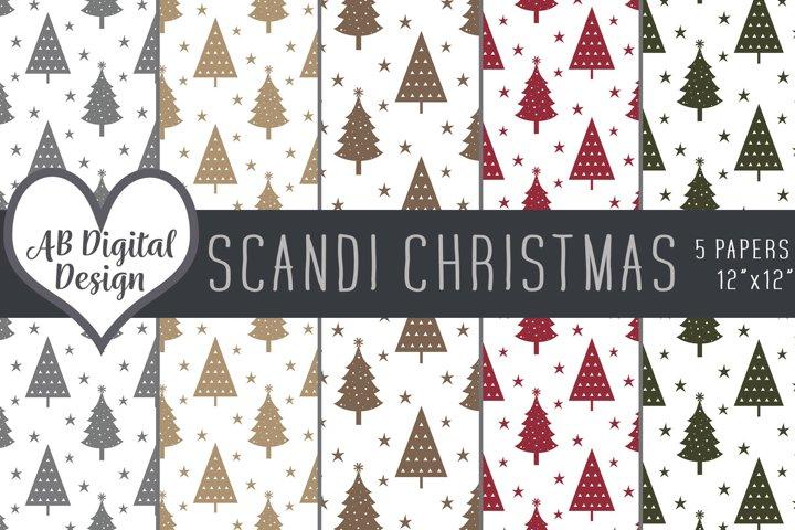 Christmas Digital Paper Background, Scandinavian Nordic Xmas