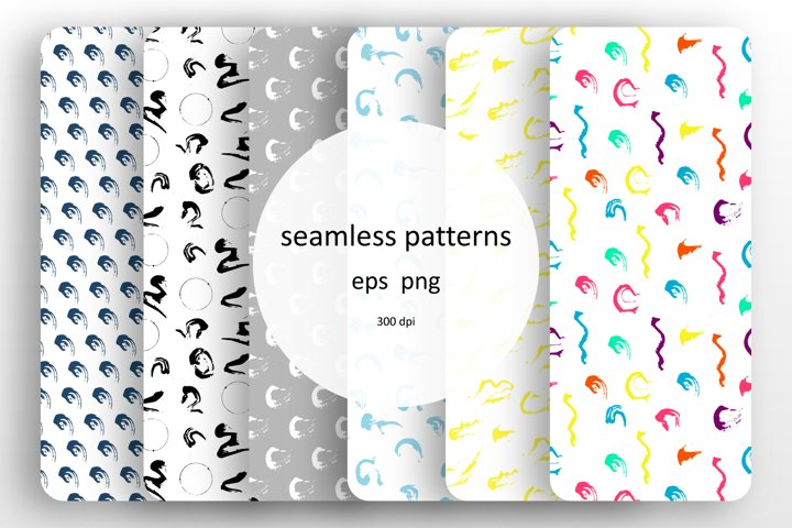 6 seamless patterns set with paints