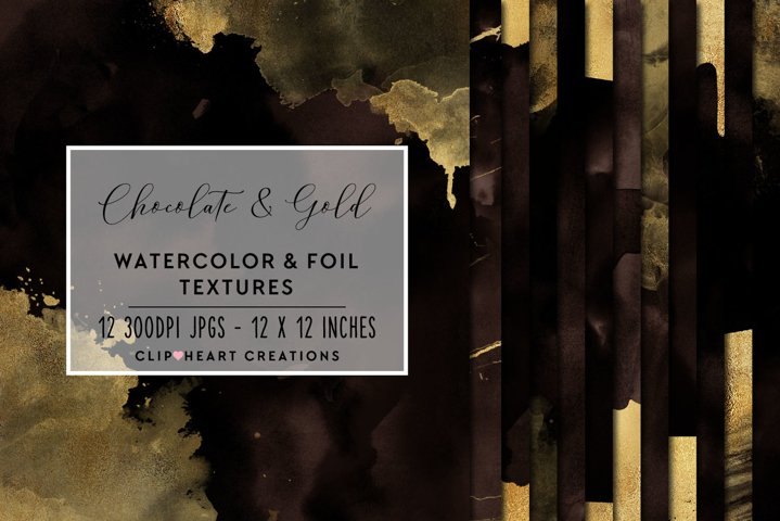 Brown & Gold Watercolor and Foil Papers