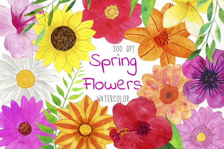 Watercolor Spring Flowers Clipart, Flowers Clipart