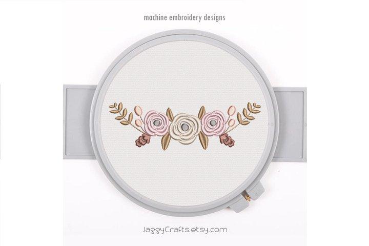 Half Floral Wreath Monogram Frame Decorative Border