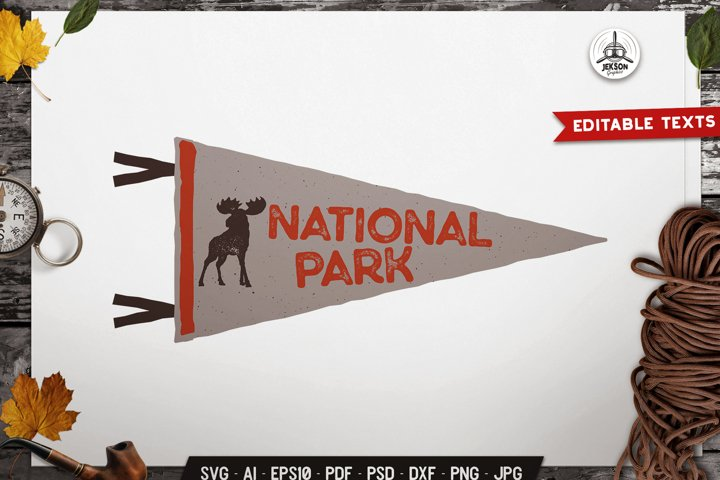 National Park SVG Badge Vector Retro Animal Pennant Logo PNG