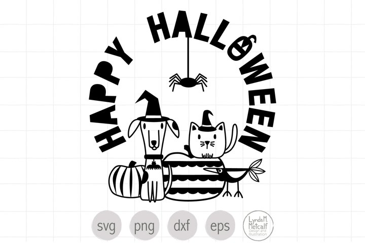 Hand Lettered Happy Halloween Pets SVG